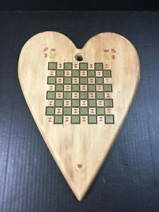 """Country Folk Art Heart Shaped Wood Plaque Sign Game Board Rustic Kitchen 16"""""""