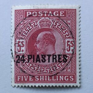 Br. Levant Edward VII 1912 24 pi on 5/- carmine used SG 34. (Cat £100)