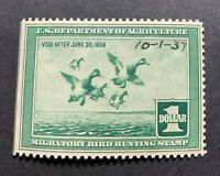 WTDstamps - #RW4 1937 - US Federal Duck Stamp - Mint OG NH - w/ date on front --