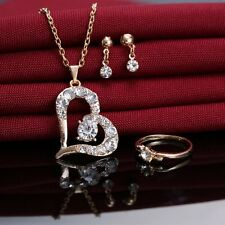 HOT Heart Love Golden Jewelry Set Crystal Necklace Bridesmaid Prom Earrings Ring