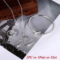 Fashion 925 Silver Teardrop Bracelet Necklace Earrings Ring Open Bangle Jewelry