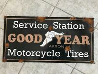 Old style-porcelain look Goodyear motorcycle tires service station dealer sign