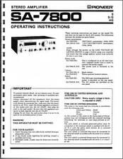 Pioneer sa-7800 Vollverstärker Betriebsanleitung