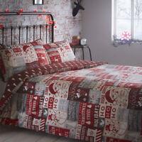Christmas Ho Ho Ho Patchwork Reversible Duvet Cover/Quilt Cover Set Red / Multi