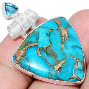 Copper Blue Turquoise & Blue Topaz 925 Sterling Silver Pendant Jewelry AP244799