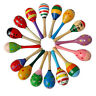 1x Baby Wooden Maracas Ball Rattle Musical Toy Sand Hammer Kids Educational Toys