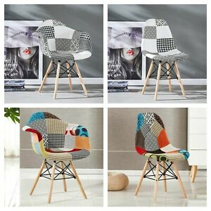 Moda Patchwork Eiffel Dining Armchair TUB Chair Retro Scandinavian Style