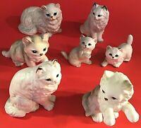 VINTAGE JAPAN WHITE CAT FIGURINES COLLECTION PORCELAIN 7 CATS KITTENS PERSIANS