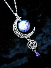 Blue Moon Pentacle Necklace Pagan Wicca Fantasy Silver Pendant Gothic Magic Star