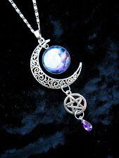 BLUE MOON Pentacle COLLANA pagane WICCA FANTASY ARGENTO CIONDOLO GOTICO Magic Star