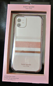 Kate Spade Protective clear CASE for iPhone 11 Charlotte Stripe Rose Gold NEW