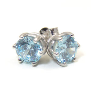 Earrings 6 Claw Aquamarine Diamond Unique 2ct Solitaire Solid 9ct Gold Studs