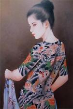VINTAGE TATTOO PRINT Asian girl Tattooed Dragon Back Lotus Sleeve *CANVAS* ART