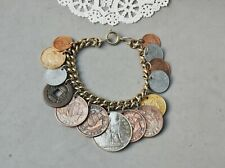 "14 Foreign Coin Charm Bracelet Vintage 7 1/2"" 1930-1950 & Chinese Token w/ Hole"