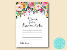 10 x PRINTED - Floral Chic Baby Shower Advice for Mummy to be Cards TLC140
