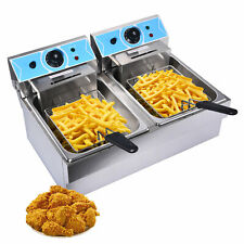 16l Electric Deep Fryer Dual Tank Stainless Steel 2 Fry Basket Commercial 4000w