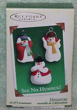 Hallmark Keepsake See No Humbug! Set of 3 Miniature Ornaments 2005