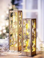 Dekosäule Holz Dekosockel Kristall im 2er Set mit LED