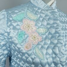 Vintage Appel Robe Sm Quilted Housecoat Blue Appliqued Flowers Usa Union Made