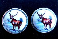 Sterling Silver Stag deer country animal round enamel cufflinks mens gift New