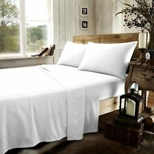 OFFER ~300 Thread Count 100% Egyptian Cotton White Percale Fitted Sheet - Double
