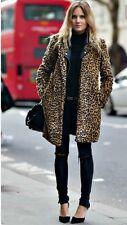 ZARA AW16 Animal Print Faux Fur Long Coat Size S Uk 8/10  Genuine Zara