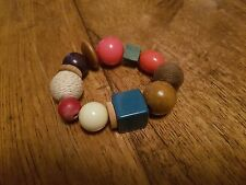 COLOURFUL CHUNKY ROUND SQUARE WOOD EMBELLISHED MULTI BEAD EXPANDABLE BRACELET