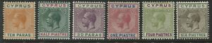 Cyprus KGV 1912 various values to 6 piastres mint o.g. hinged