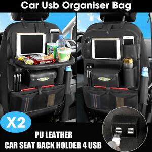 2PCS Waterproof Travel Car Back Seat Organiser Holder Fold Desk 4 USB Tissue Box
