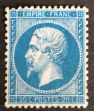 France N° 22 20c Bleu NSG TB Centrage infime Clair Cote 100€ +