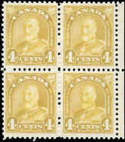 Mint H/NH Canada Block of 4 1930 F-VF Scott #168 King George V Arch/Leaf Stamps