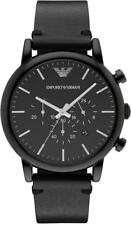 Emporio Armani Dress AR1918 Black/Black Leather Analog Quartz Men's Watch