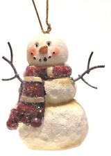 """2.7"""" HAND PAINTED RESIN SNOWMAN CHRISTMAS HOLIDAY ORNAMENT STYLE 1"""