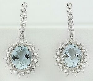 8.64 Carat Natural Aquamarine 14K Solid White Gold Diamond Earrings