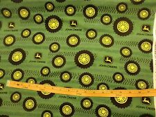 JOHN DEERE fabric TIRES ON TREAD TRACTOR FLANNEL FABRIC GREEN CP54782 BTY NEW