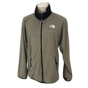 Vintage 90s The North Face Full Zip Fleece Jacket Men's XL Beige Black USA Made
