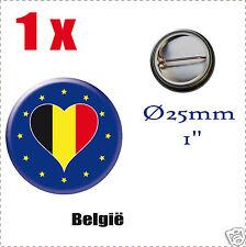 Badge Ø25mm Pays de l'europe des 28, drapeau en forme de coeurBELGIQUE