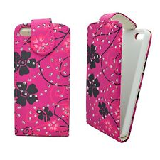CASE FOR APPLE IPHONE 4/4S COVER HOT PINK BLACK FLOWER SWIRL GLITTER FLIP COVER