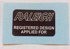 """Raleigh Chopper,Grifter, etc """"RALEIGH REGISTERED DESIGN APPLIED FOR"""" Sticker"""