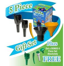 Click & Pour 5 Pc Funnels Spout Kit Transfer Fluid No Mess Bonus Home Garden Kit