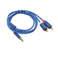 Stereo 3.5mm Jack Plug to TWIN 2 x RCA PHONO Audio Lead GOLD CABLE Male
