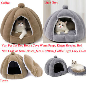 Dome Pet Bed House w/ Removable Washable Cushioned Pillow Coffee/Grey 15x19 inch