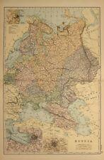 1898 Ancien Carte Russie Moscou st Petersbourg Odessa Finlande Stavropol