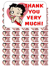 "50 Betty Boop Thank You Envelope Seals / Labels / Stickers, 1"" by 1.5"""