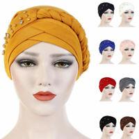 Women Hijab Beads Chemo Turban Hat Braid Cancer Wrap Lady Head Cover Muslim Cap