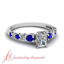 1 Ct Platinum Engagement Rings With Radiant Diamond And Round Blue Sapphire