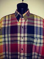 Ike Behar Red Checkered  men's long sleeve shirt. Size XL. 100% cotton