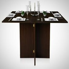 Simple Folding Table Wooden Walnut Small Space Dining Coffee Home Kitchen Prep