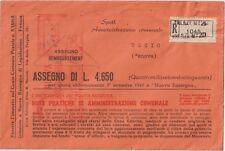 ITALIA 1950 LETTERA RACCOMANDATA CON ASSEGNO .AFFRANCATURA ROSSA NUOVA RASSEGNA