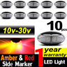 10X 10V-30V RED AMBER CLEARANCE LIGHTS SIDE MARKER LED TRAILER TRUCK LORRY LAMP